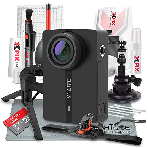 YI Lite Action Camera, 4K Sports Camera with EIS, Black and 32GB Card Deluxe Accessory Bundle