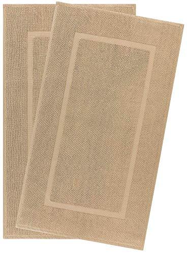 ECO TOWELS Cotton Banded Bath Mats 2 Pack, [Not a Bathroom Rug], 22″x34″ (Camel)