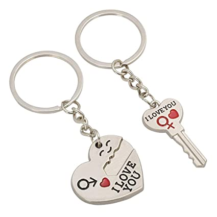 Valentines Keyrings Pair - I Love You Heart   Key Chain Ring Mens Womens  Key Rings e18e04c759