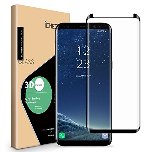 Galaxy S8 Plus Screen Protector - ICHECKEY Upgraded [Full Adhesive][3D Curved Edge] [Case Friendly] Tempered Glass Screen Cover for Samsung Galaxy S8 Plus / S8+