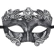 Coxeer Mens Masquerade Mask Greek Party Mask Mardi Gras Mask Faux Antique Silver