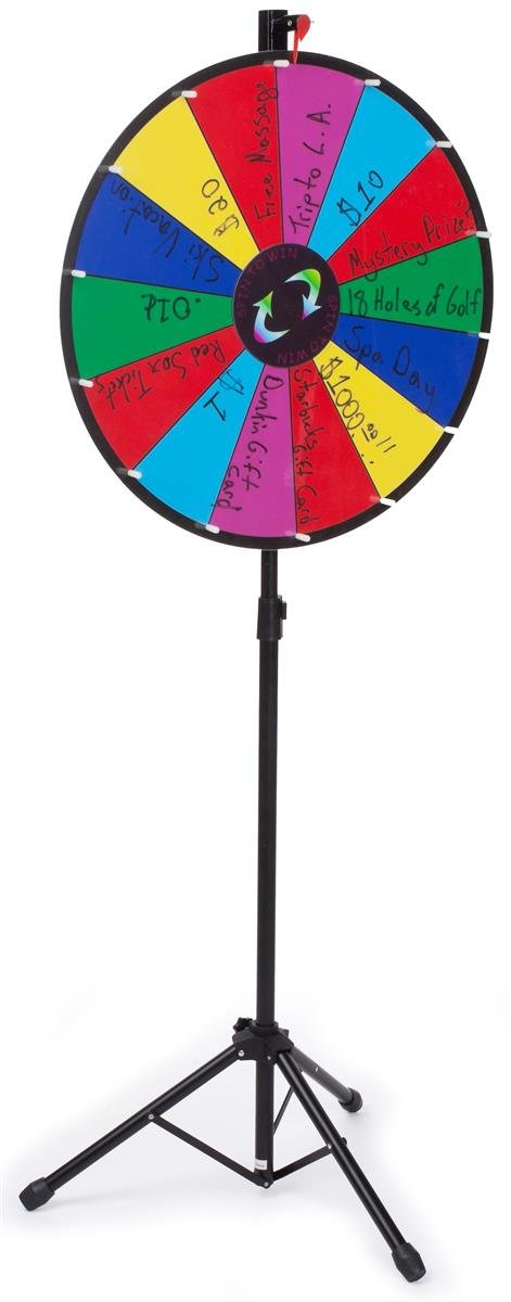 Prize Wheel with Height-Adjustable Floor Stand, 24'' Write-on Surface for Wet or Dry-Erase Markers, 14 Prize Slots, with Carrying Bag by Displays2go