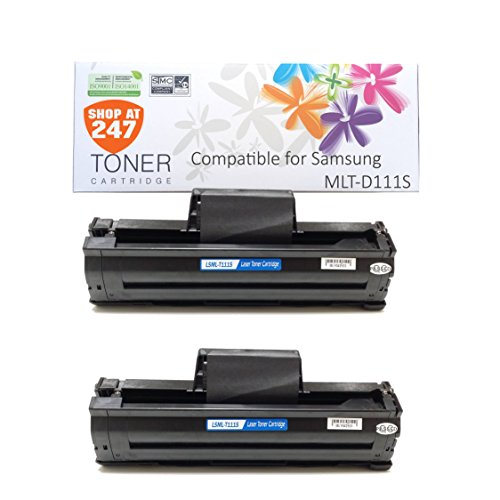 Shop At 247 New Compatible Samsung MLT-D111S Toner for SL-M2020W, SL-M2070W/FW, 2 Black