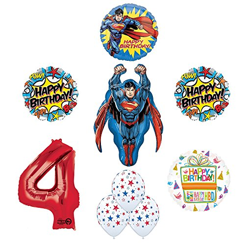 Superman 4th Birthday Party Supplies and Balloon -