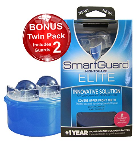 Elite Mouth Guard - SmartGuard Elite Night Guard (2 Guards & 1 Cleaning Case) for Clenching & Grinding Teeth (Bruxism), Dentist's Choice, Covers Upper Front Teeth, Personal Comfort Fit