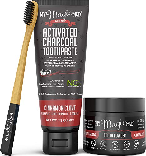 - My Magic Mud - Activated Charcoal Teeth Whitening Kit, Toothpaste, Tooth Powder & Bamboo Toothbrush, Clinically Proven, Cinnamon Clove