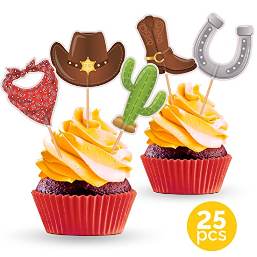Cowboy Party Cupcake Toppers - Western Theme Birthday or Baby Shower Decorations Supplies - 25 PCS ()