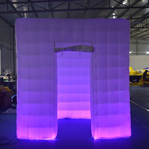 Sayok Portable LED Inflatable Photo Booth Frame One Door with 17 Colors LED Changing Light and Blower 8.2x8.2x8.2ft by Sayok
