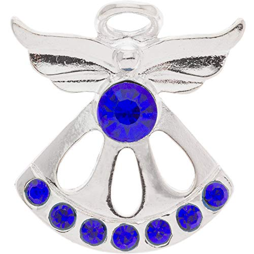 Sterling Gifts September Sapphire Birthstone Angel Pin, 8 Stones, Silver (September Birthstone Angel Pin)