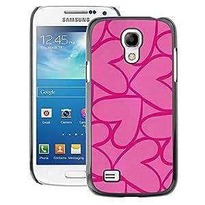 A-type Arte & diseño plástico duro Fundas Cover Cubre Hard Case Cover para Samsung Galaxy S4 Mini i9190 (NOT S4) (Hearts Pink Purple Love Valentines)