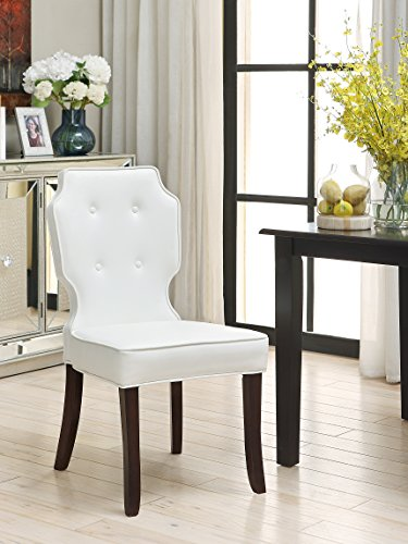 Cheap Iconic Home 2 Piece Contemporary Tufted Cream White PU Leather Lennon Dining Chair Set
