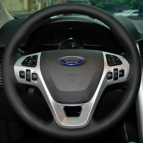Steering Wheel Cover Specially for Ford Edge Explorer Car Covers DIY Sewing Black (Black leather Black (Steering Wheel Cover Ford Edge)