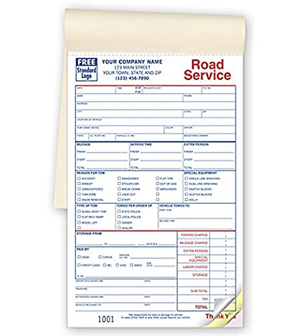Amazon Com Road Service Repair 3 Part Towing Forms Carbonless
