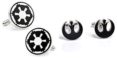 star wars his her empire logo and rebel logo black cuff links