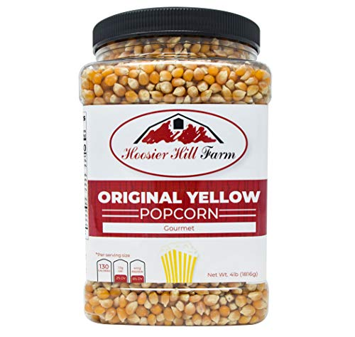 Hoosier Hill Farm Original Yellow, Popcorn Lovers 4 lb. Jar. (Best Tasting Popcorn Kernels)