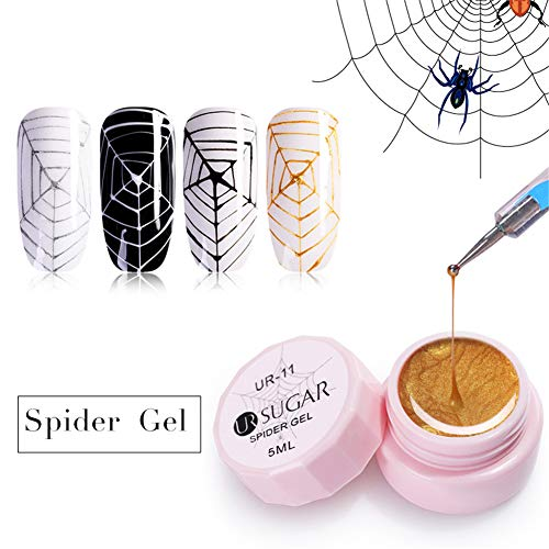 UR SUGAR 5ml Spider Gel Nail Polish Kit, Nail Painting Drawing Design, Spider Web Silk Line Pattern UV LED Cured 4 Classic Colours