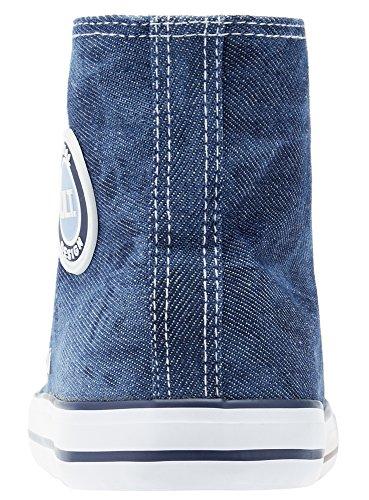 oodji Ultra Mujer Zapatillas de Algodón Altas Azul (7900N)