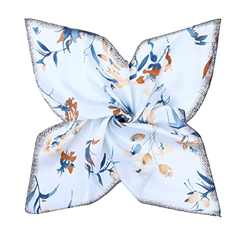 GERINLY Silk Feel Stewardess Scarf: Spring Floral Head Wrap Bandana for Women (Light Blue)