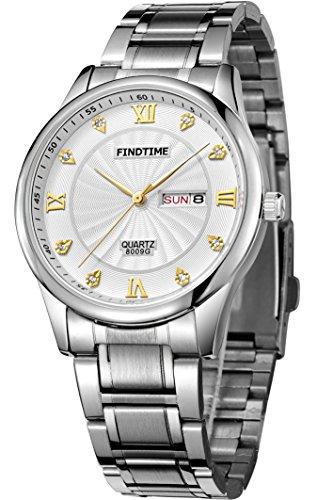 Findtime Herren Silber Luxus Outdoor Kalender Edelstahlarmband Quarz Marken Uhren