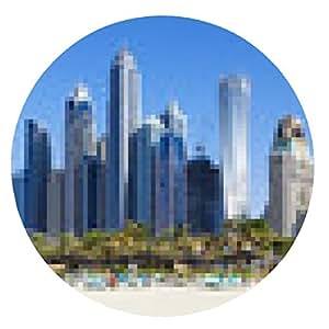 alfombrilla de ratón Vista panorámica de los famosos rascacielos y la playa de Jumeirah - ronda - 20cm