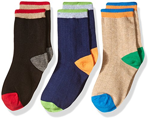 Jefferies Socks Little Boys' Wide Rib Cotton Crew 3 Pair Pack, Multi, Small