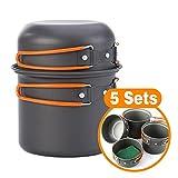 Camping Cookware Mess Kit 4 Piece, Lightweight Aluminum...