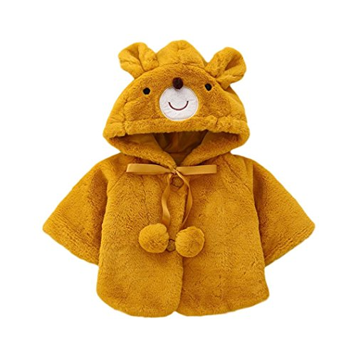 FEITONG Toddler Baby Girls Bear Ball Warm Winter Tops Casual Clothes Coat (12Months, Yellow) - Blue Coat Bear Toddler Child Costumes