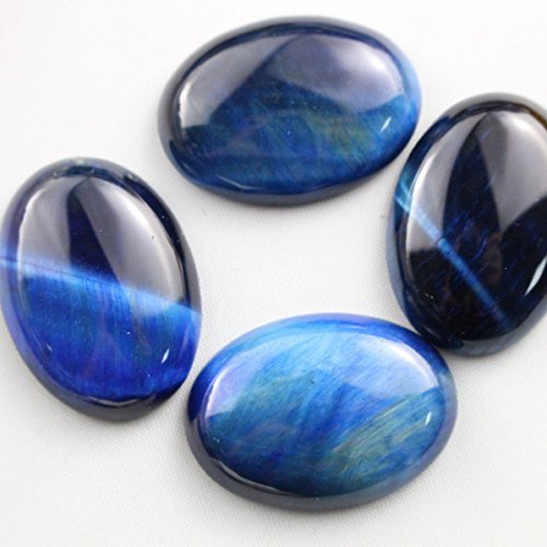 4pcs Oval 18*25mm Natural Gemstone Cabochons for Jewelry Making Beads Cabs (blue tiger's eye)