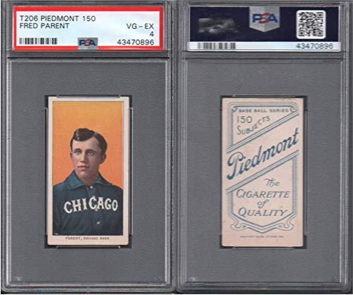 1909 t206 tobacco (baseball) card#368 psa fred parent (psa) of the Chicago White Sox Grade very good/excellent