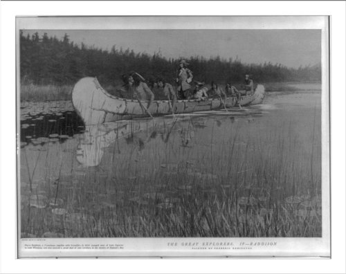 Historic Print (L): Pierre Radisson and Groseiller in canoe with Indians on v...