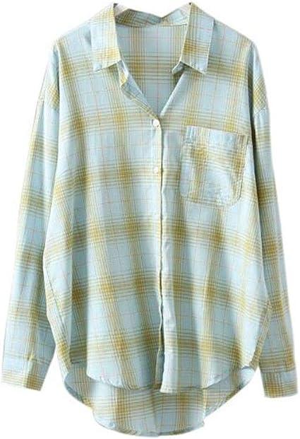 DAFREW Camisa de Verano a Cuadros Ropa de protección Solar ...