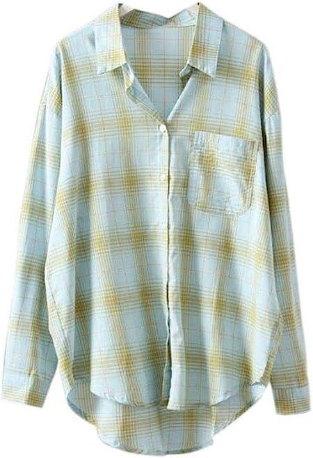 DAFREW Camisa de Verano a Cuadros Ropa de protección Solar Salvaje Camisa Suelta Camisa de Manga Larga Fresca cómoda Camisa a Cuadros Retro (Color : Verde, Tamaño : L): Amazon.es: Hogar