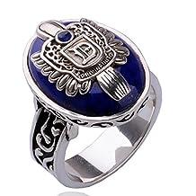 XIEXIE Vintage Punk Gothic Silver Lapis Lazuli Alloy Men's Ring