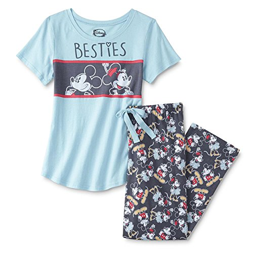 Mickey and Minnie Mouse Juniors Plus Pajamas Set (Teen/Adult) (2X, Besties Blue/Grey) (Disney Adult Outfits)