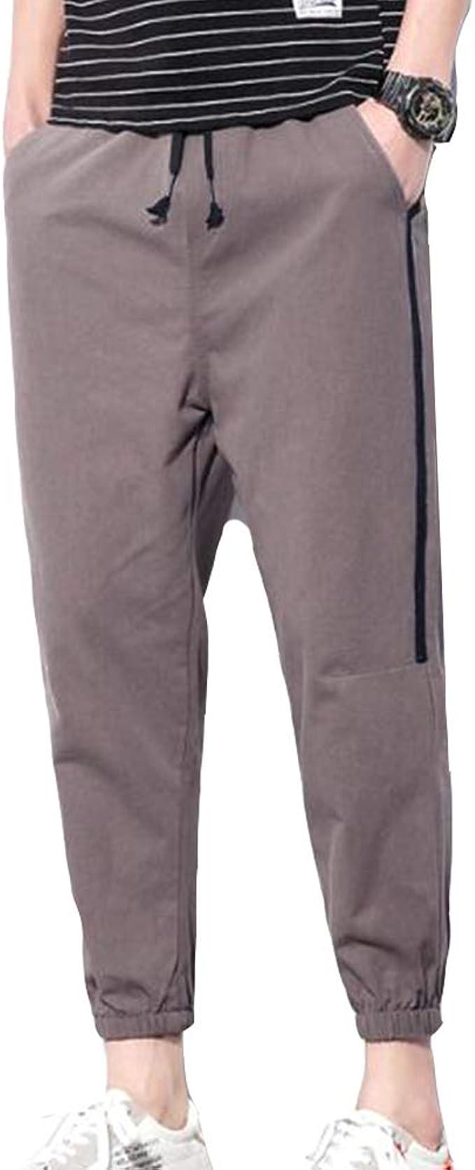 XWGlory Pantalones con Cordón para Hombre Pantalón Largo para ...