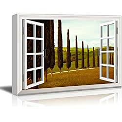 "wall26 - Creative Window View Canvas Prints Wall Art - Tuscan Countryside Cypress Meadow - 24"" x 36"""
