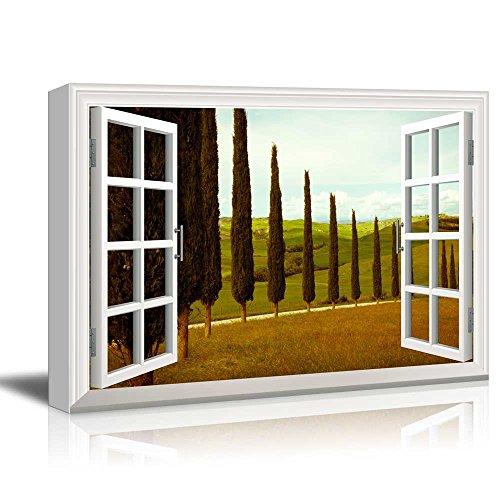 wall26 - Creative Window View Canvas Prints Wall Art - Tuscan Countryside Cypress Meadow - 24