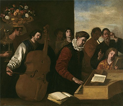 The Polyster Canvas Of Oil Painting 'Falcone Aniello Un Concierto Ca. 1640 ' ,size: 18 X 21 Inch / 46 X 53 Cm ,this Vivid Art Decorative Canvas Prints Is Fit For Laundry Room Decoration And Home Artwork And Gifts