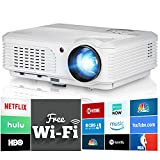 Wireless WiFi Video Projector HD 1080P Support Outside/Home Theater Projector 3600 Lumen LCD LED Android OS Image Movie Projectors Support Airplay Screen Share HDMI for DVD Cell Phone Xbox Wii Artwork