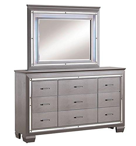 (HOMES: Inside + Out IDF-7979SV-DM MENA Contemporary Dresser and Mirror)