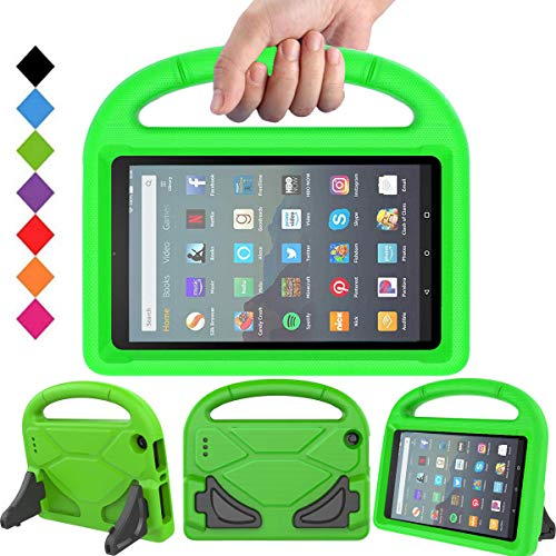 BMOUO Kids Case for All-New Fire 7 2019/2017 (9th/7th Gen - 2019/2017 Release), Light Weight Shockproof Handle Stand Kids Friendly Case for Amazon Fire 7 Tablet 2019 & 2017 Release, Green