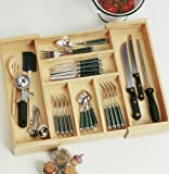Lipper Beechwood Expandable Flatware/Cutlery Tray