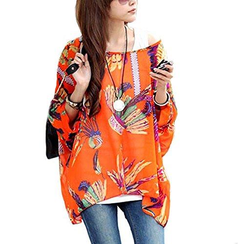 LATH.PIN Mujeres Bohemian 3/4 Sleeve Chiffon Blouse Off Shoulder T-shirt Boho-06