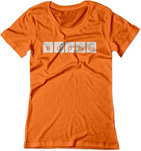 BSW Women's Boobies Periodic Table Funny Science Shirt 2XL Orange ()