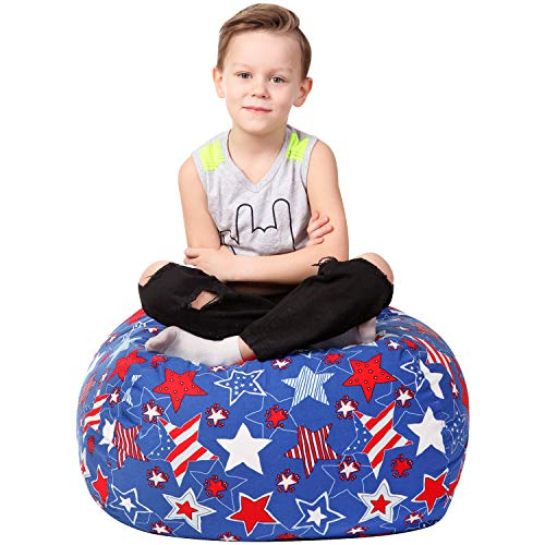 Stuffed Animal Storage Bean Bag - Large Beanbag Chairs for Kids - 90+ Plush Toys Holder and Organizer for Boys and Girls - 100% Cotton Canvas Cover - American Stars ()
