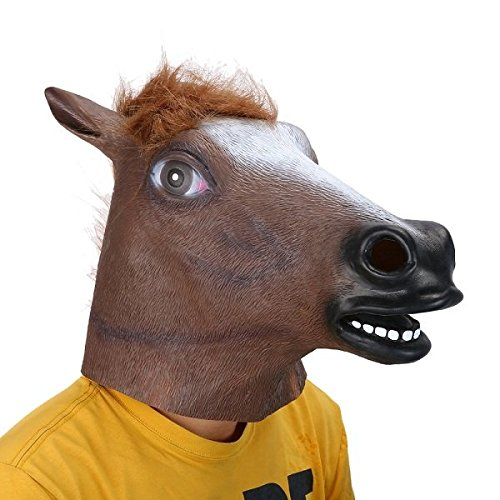 Autumn Water Full Head Mask Horse Head Mask Creepy Fur Mane Latex Realistic Crazy Rubber Super Creepy Party Halloween Costume Animal Mask by Autumn Water (Image #2)