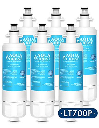 AQUACREST LT700P Replacement for LG LT700P, ADQ36006101, KENMORE 469690 Refrigerator Water Filter (6 Pack)