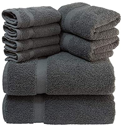 Luxury 8 Piece Bath Towel Set White - 700 GSM Thick Combed Cotton Hotel Quality Highly Absorbent Towels - 2 Bath Towels, 2 Hand Towels, 4 Washcloths [Worth $72.95]