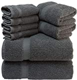 White Classic Luxury Grey Bath Towel Set - Combed Cotton Hotel Quality Absorbent 8 Piece Towels | 2 Bath Towels | 2 Hand Towels | 4 Washcloths [Worth $72.95] Grey | 8 Pack Larger Image