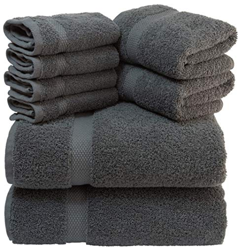 - White Classic Luxury Grey Bath Towel Set - Combed Cotton Hotel Quality Absorbent 8 Piece Towels | 2 Bath Towels | 2 Hand Towels | 4 Washcloths [Worth $72.95] Grey | 8 Pack
